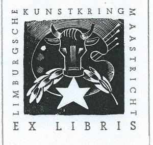 Ex libris Limburgsche Kunstkring Maastricht, ontworpen door H.Sevigne (1905-1989)