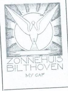 Ex libris Zonnehuis (zorgorganisatie) Bilthoven, ontworpen door P.J.Hamers (1909-1991)