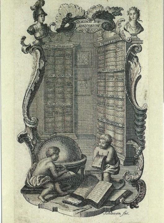 Exlibris van Johann Wilhelm Ludwig Gleims, gegraveerd door Johann David Schleuen d.A. (Das Gleimhaus Literaturmuseu und Forschungsstätte)