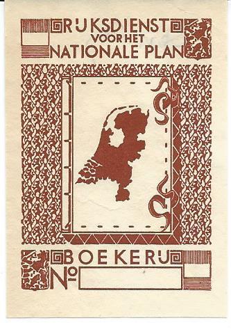 Ex libris boekerij Rijksdienst voor het Nationale Plan, Den Haag