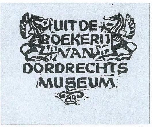 Ex libris bibliotheek Dordrechts Museum; ontworpen in 1942 door Bert Bouman (1921-1979)