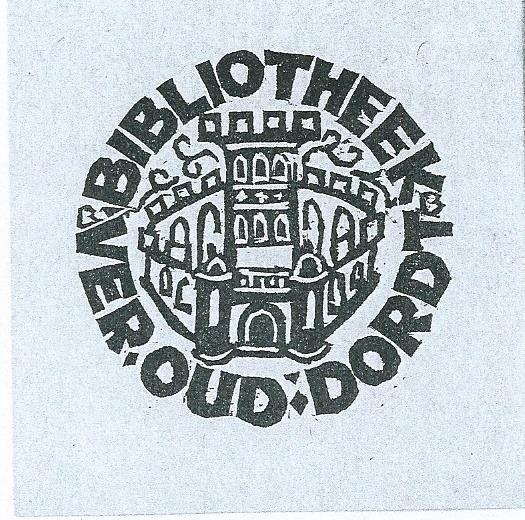 Ex libris van boekerij Vereniging Oud Dordrecht; vervaardigd door Bert Bouman in 1942