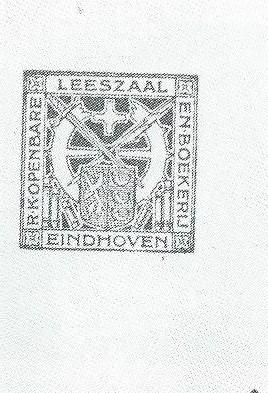 Ex libris r.k. openbare leeszaal Eindhoven uit circa 1925