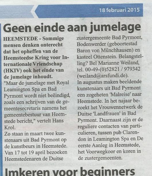 Bericht uit de Heemsteedse Courant van 18 februari 2015