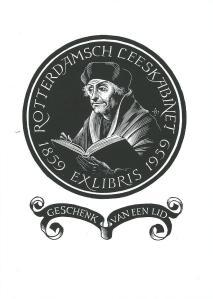 Ansichtkaart uit 2004 met exlibris voor het Rotterdamsch Leeskabinet, 1959, ontworpen ter gelegenheid van het 100-jarig bestaan. Ontwerp Pam G.Rueter (1906-1998).