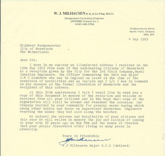 Letter from W.J.Milhausen, North York, Canda to the Mayor of Heemstede, May 4th 1995.