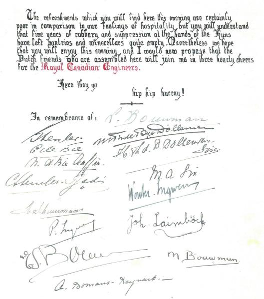Signed by the (temporary)  inhabitants of Berkenrode such as Bouwman, Thierry de Bye Dolleman, Six, De Bie, Laïmböck, Ingwersen, Tjaden, Schuurmans(gardene)r) and mrs. A.Bomans-Reynart