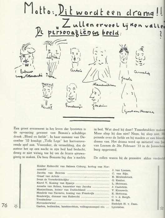 Pagina over 'Bloed en Liefde' van Godfried Bomans, uit: Gedenkboek Triniteitslyceum Haarlem 1922-1947