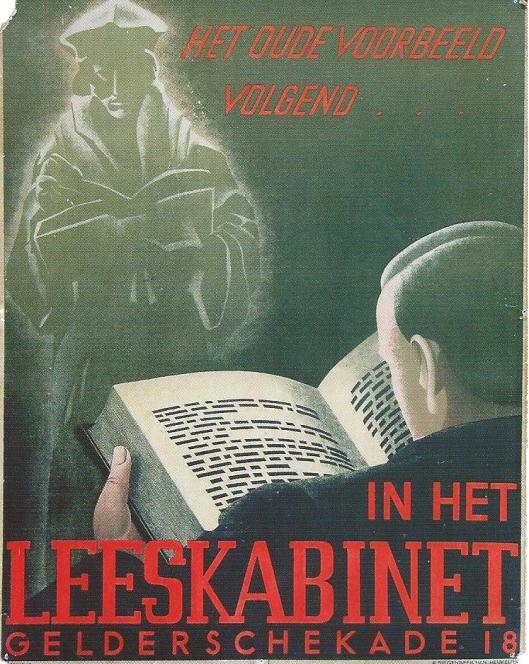Kaart/affiche 'In het leeskabinet, Rotterdam n.a.v. Erasmusjaar 1936