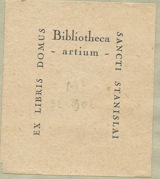 Ex libris Bibliotheca Artium Sancti Stanislai