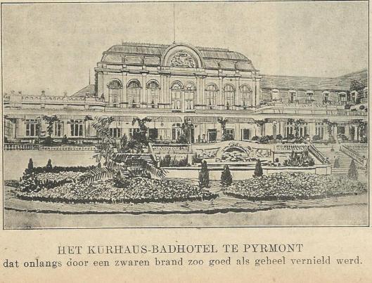 In Het Zondagsblad van de Nieuwe Haarlemsche Courant van 12 augustus 1911 is bericht over de grote brand van het Kurhaus-Badhotel te Bad Pytmont met een afbeelding van het hotel nog in volle glorie.