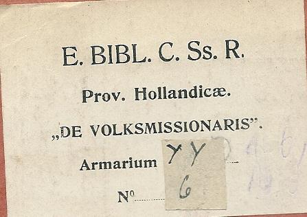 Exlibris boekerij Redemptoristen. Plaats onbekend