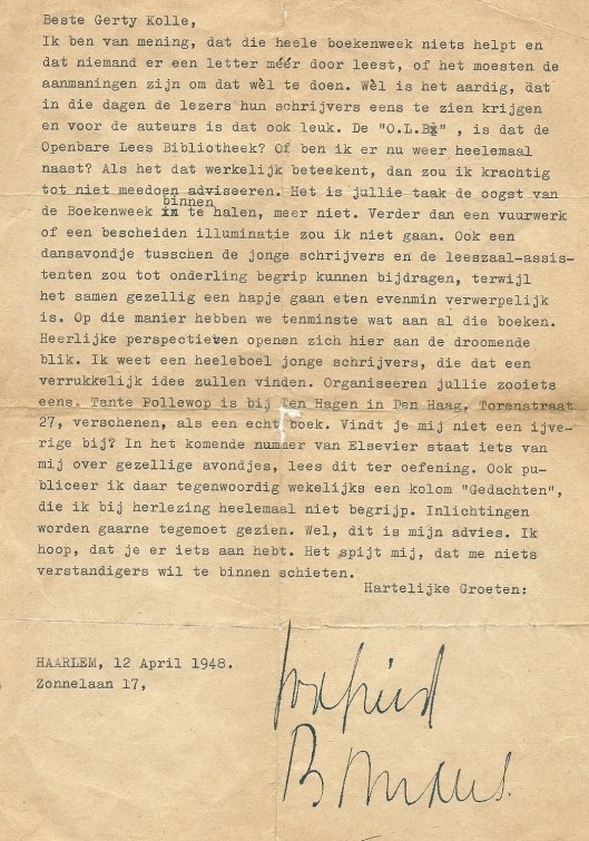 Brief van Godfried Bomans aan Gerty Kolle