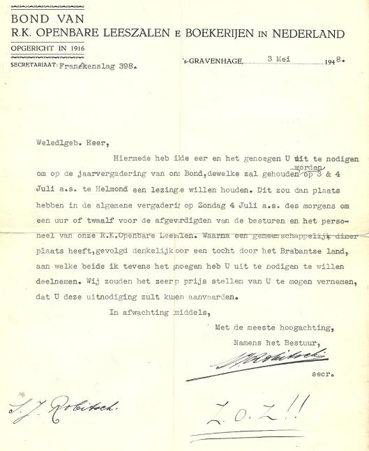 Schrijven van S.J.Robitsch (secretaris Bond van R.K.Openbare Leeszalen en Boekerijen in Nederland) aan Godfried Bomans