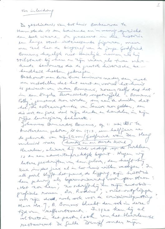 Pagina 1 van 5 bladzijden uit manuscript door Michel van der Plas