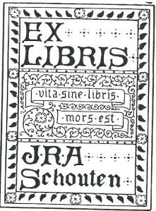Exlibris J.R.A.Schouten. Collectie 670 boeken over fotografie, in 1922 aangekocht door de UB.
