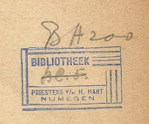Exlibris stempel bibliotheek priesters van het Heilig Hart, Nijmegen