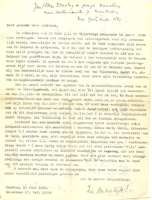 Schrijven van Godfried Bomans aan S.J.Robitsch