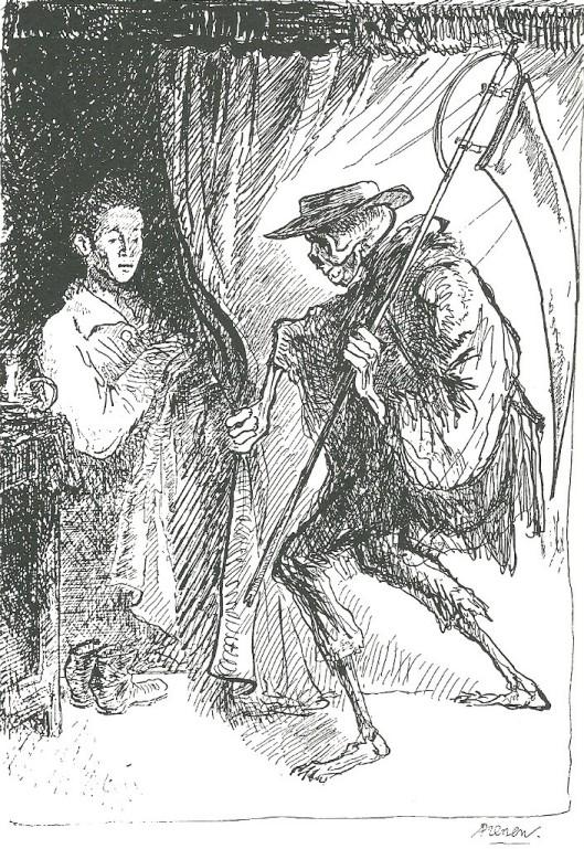 Tekening bij sprookje 'De dood van de sprookjesverteller' door Harry Prenen. Uit 'De sprookjes van Godfried Bomans' Amsterdam, Van Goor, 1989.