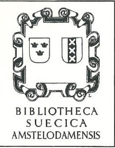 Exlibris Bibliotheca Suecica, verworven door de UB sinds 1948. Scandinavische collectie die ook de in 1931 verworven 'Bibliotheca Norvegica' bevat.