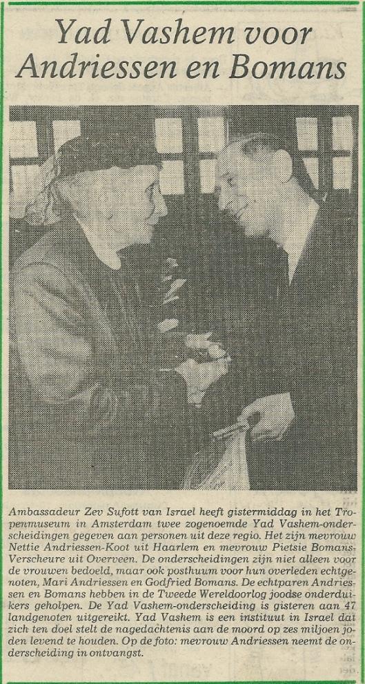 Postume uitreiking Yad-Vashem ondescheiding (Haarlems Dagblad 10 april 1987)