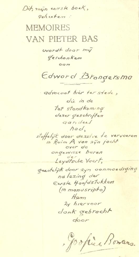 Kopie van de door Godfried Bomans geschreven tekst bij Pieter Bas voor zijn jeugdvriend dr. E.Brongersma