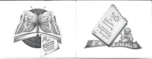 e exlibris uitgegeven door de openbare bibliotheek van Namyslow (Namslau) in Polen bij gelegenheid van het 50-jarig bestaan in 1988.