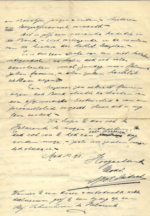 Vervolg schrijven S.J.Robitsch aan mej. Kolle