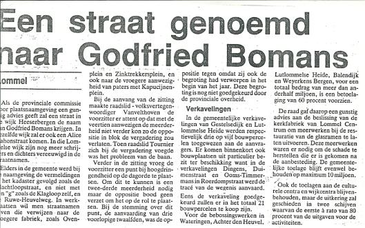 In Vlaanderen is alleen in Lommel een straat vernoemd naar Bomans (Gazet van Antwerpen, 26 april 1988)