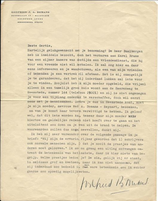 Brief van Godfried Bomans uit 1948 aan mej. H (Gertie) Kolle, toen werkzaam bij de openbare leeszaal in Helmond en na het behalen van het assistentsdiploma in Sittard (1948) als assistente benoemd aan de R.K. afdeling van de gemeentelijke openbare bibliotheek Heemstede