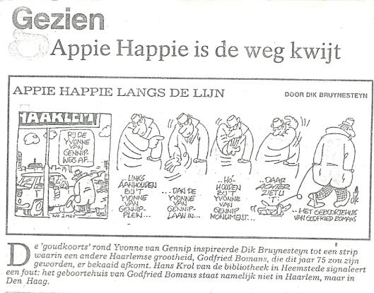 Ook Dik Bruynesteyn dacht nog dat Godfried Bomans n Haarlem was geboren (UIt: Haarlems Dagblad, 16 maart 1988)