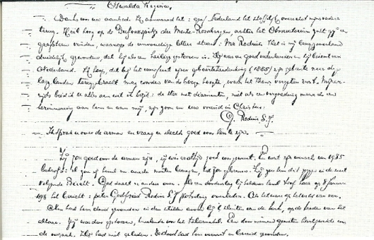 Fragment uit het manuscript van de Macdonaldcyclus door mr.J.B.Bomans. Uit het nooit verscgenen deel 8, waarin het overlijden is beschreven van