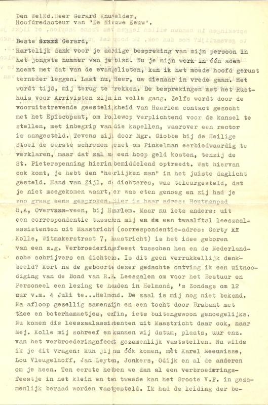 Brief van Godfried Bomans aan Gerard Knuvelder, hoofdredacteur van 'De Nieuwe Eeuw'