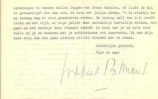 Vervolg brief van Godfried Bomans aan Gerard Knuvelder