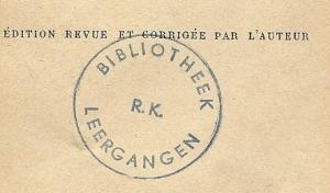 Eigendomsstempel bibliotheek R.K.Leergangen, Tilburg
