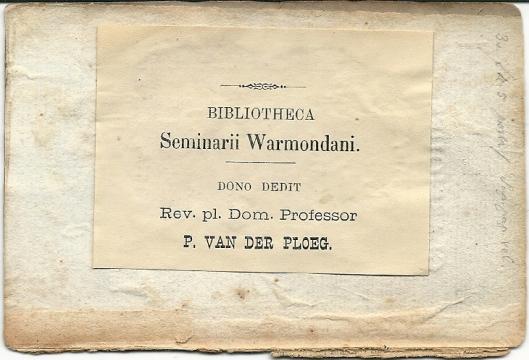 Grootseminarie Warmond; boeken geschonken door mgr. V.d. Ploeg