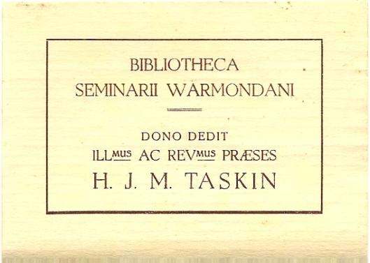 Grootseminarie Warmond, boeken geschonken door mgr. Taskin
