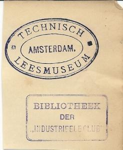 Technisch Leesmuseum Amsterdam / bibliotheek der Industieele Club (stempels)