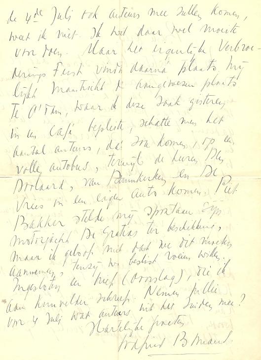 Vervolg brief van Godfried Bomans aan Gerty Kolle