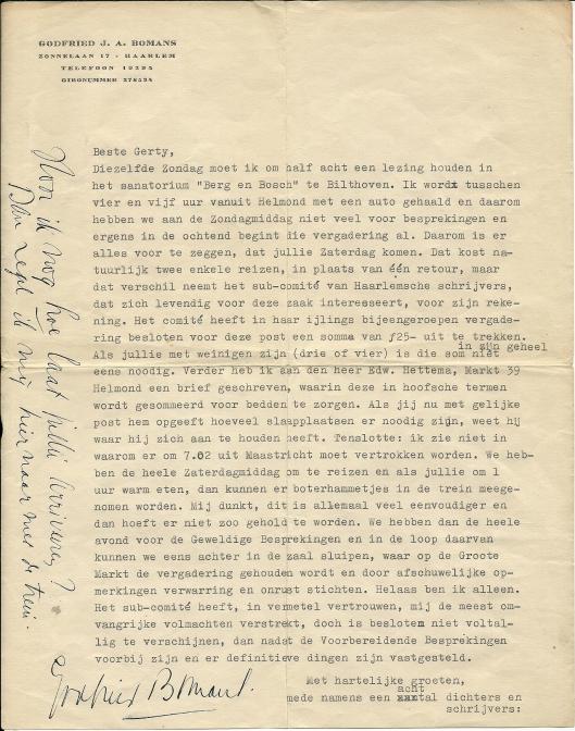 Brief van Godfried Bomans aan Gerty Kolle kort voor de bijeenkomst op 3/4 juli in Helmond geschreven