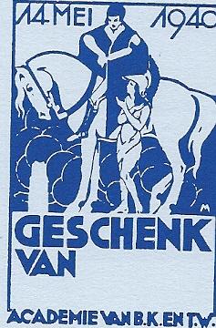 Bij het bombardement van Rotterdam op 14 mei1940 ging de bibliotheek van de Academie voor Beeldende Kunsten verloren. M.C.E.Meischke tekende voor schenkingen dit exlibris [Uit: De bibliotheek en het exlibris', 1990]