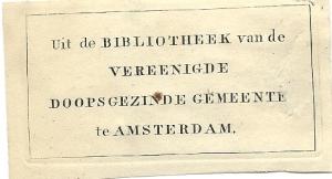 Bibliotheek van de Vereenigde Doopsgezinde Gemeente te Amsterdam