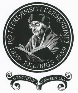 Idem exlibris Rotterdamsch Leeskabinet met portret van Erasmus