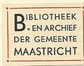 Bibliotheek en archief der gemeente Maastricht [vervaardigd door A.A.M.Stols (1900-1973)]