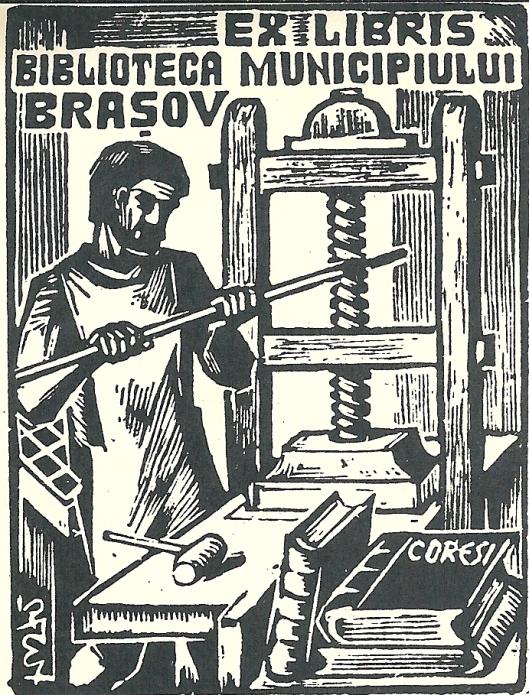 Ex libris van de stadsbibliotheek in Brasov, Roemenië. De afbeelding is gewijd aan Diaconul Coresi, een Roemeens typograaf, in 1583 te Brasov overleden