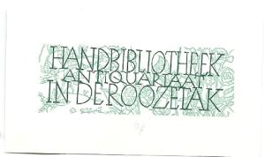 exlibris handbibliotheek antiquariaat 'In de Roozetak', Amsterdam