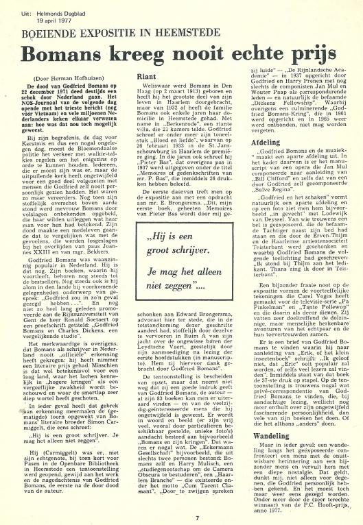 Artikel van Herman Hofhuizen n.a.v. Bomans-expositie Heemstede uit Helmonds Dagblad van 19 april 1977