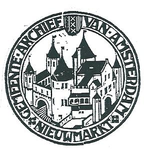 Exlibris Gemeente-archief van Amsterdam. Ontwerp van K.P.C.de Bazel.