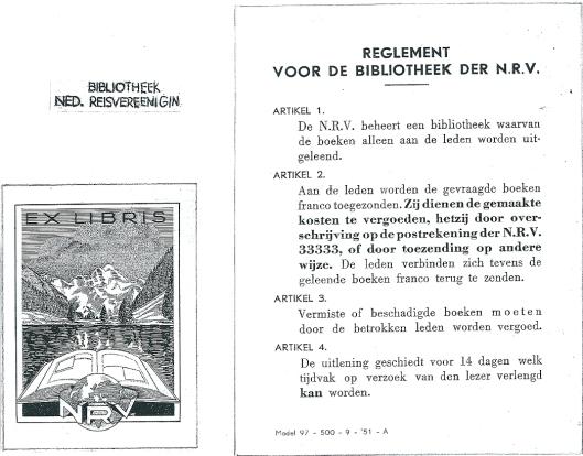 Exlibris en reglement van bibliotheek der Nederlandse Reisvereeniging (NRV)
