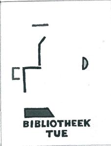 """Exlibris Technische Universiteit Eindhoven. Ontwerp Cees andriessen: """"...de collectie vooral technisch en beta-wetenschappelijk van aard is koos ik de primaire kleuren en elementaire vormen en tekens die een ruimte aftasten en sporen voor een toekomst overlaten..."""""""